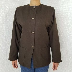 Christian Dior VTG 80s/90s collarless wool blazer